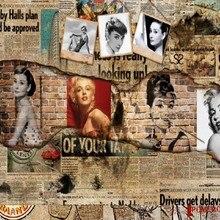 Envío Gratis Retro Vintage sueños Hepburn pared de fondo de Bar Café personalizado decoración 3D papel tapiz restaurante Mural barato