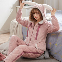 2019 Unicorn Pajamas Beibei Three layer Thick Jacket Pajamas, Caps And Rabbit Ear Zippers Can Be Worn Outside The Home Clothes