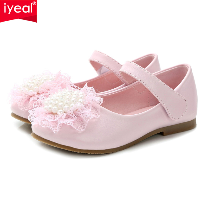 IYEAL Pink Ivory Kids Baby Toddler Flower Children Wedding Party Dress Princess Leather Shoes For Girls School Dance Shoes kids leather shoes sweet princess girls baby shoes cut outs flower shoes children rivet student dance shoes