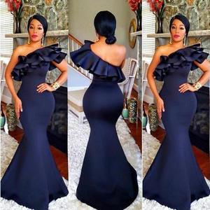 da526786bff 2018 Navy Blue Mermaid Wedding Guest Dress One Shoulder Floor Length  Ruffles Satin Long Bridesmaid Dresses Cheap Robe De Soiree