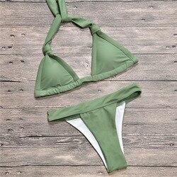2019 nowy trójkąt stroje kąpielowe podział kobiet stroje kąpielowe bandaż bikini set brazylijskie bikini halter sexy strój kąpielowy push up swimmingsuit 2