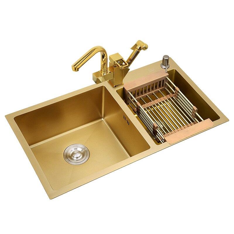 304 In Acciaio Inox Lavelli Da Cucina A Mano In Oro-ispessito 4 millimetri A Doppia Vasca con rubinetto Sopra Il Contro Nano-rivestimento lavelli Verdure di Lavaggio