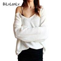 סוודר נשים בסוודרים סתיו החורף עמוק V BiLvLanLv Feminino Mujer למשוך Femme 2017 גבירותיי מקרית מגשרי Sueter סריגי ורוד