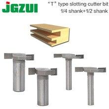 1 stks 1/4and1/2 Schacht T type steken cutter frezen voor houtbewerking T slot frezen cutter houtbewerking gereedschap