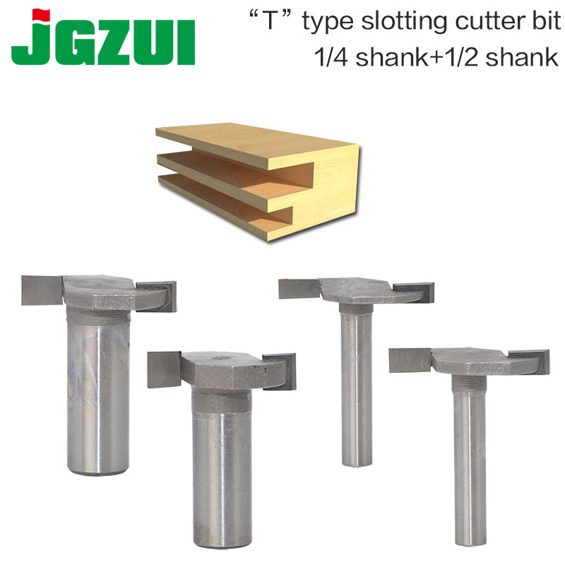 1pcs 1/4and1/2 Shank T type slotting cutter router bits for woodworking T slot milling cutter woodworking tools-in Milling Cutter from Tools