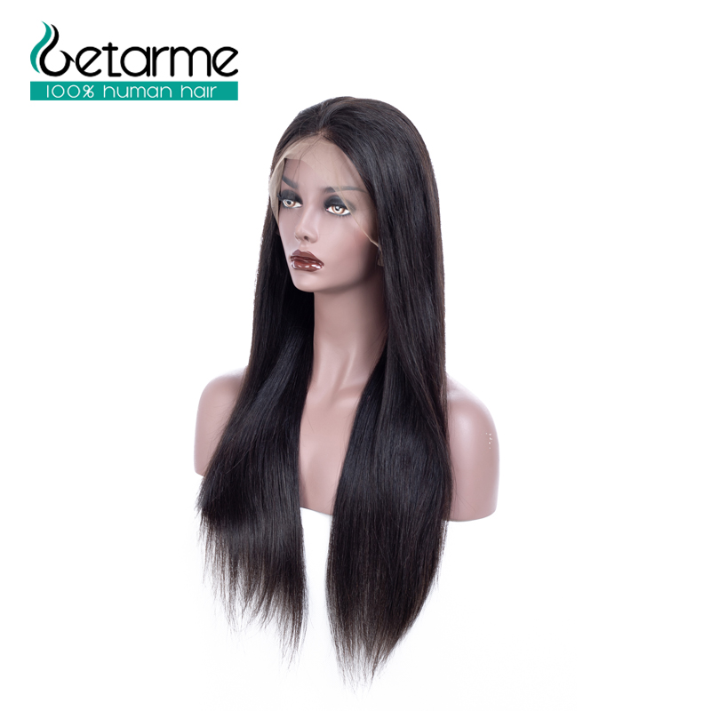 Straight Malaysian Full Lace Human Hair Wigs With Baby Hair Remy Natural Black Pre Plucked Getarme Lace Wigs Bleached Knots