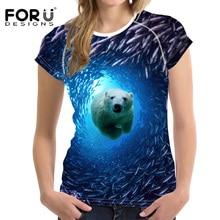 FORUDESIGNS Summer Tops Tees Ladies Short t Shirt Women T-shirt Dress Cotton Female tshirt 3D Animal Bear Seabed Print Tee Shirt