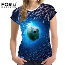 FORUDESIGNS Summer Tops Tees Ladies Short t Shirt Women T-shirt Dress Cotton Female tshirt 3D Animal Bear Seabed Print Tee Shirt