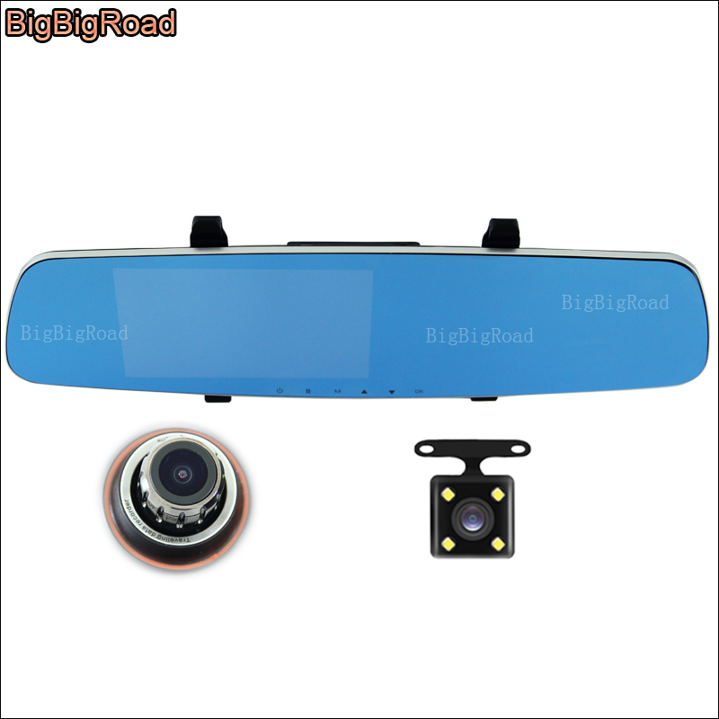 BigBigRoad Car DVR for toyota sequoia Car Dual Camera Blue Screen Rearview Mirror Video Recorder car parking monitor Camcorder plusobd car camera for bmw 5 series e60 e61 rearview mirror camera and video recorder automobile car dvr cheapest camcorder