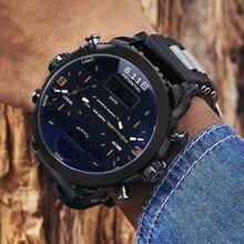 ドロップシッピング新 6.11Big メンズ腕時計スポーツクォーツ男性デュアルディスプレイ腕時計防水屋外複数のタイムゾーンの時計