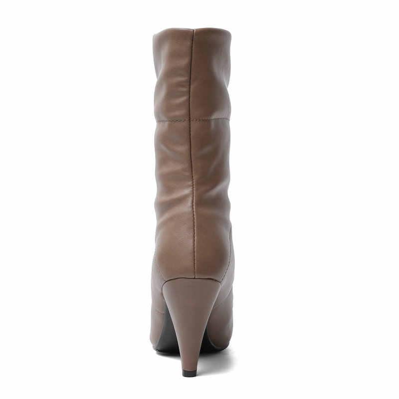 Thiết kế dây đầu Nhọn Dày Gót ống Giày Nữ Mũi Nhọn Cao Gót Mùa Đông Giày Nữ Đen Trắng Nâu Ngắn giày