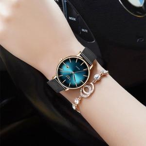 Image 5 - 2019 שעון נשים פשוט אופנה ליגע למעלה מותג קוורץ שעון יוקרה Creative עמיד למים תאריך מקרית גבירותיי שעון Relogio Feminino