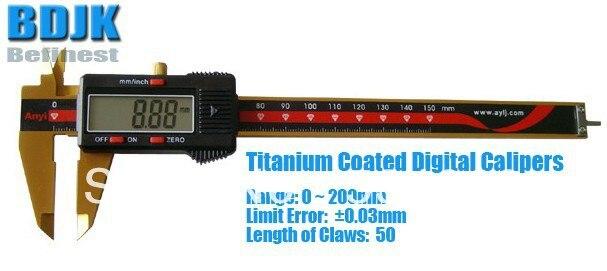 Range 0~200mm Tatanium Coated Digital Vernier Caliper / Measuring Instrument with 0.03mm Limit Error 0 300mm high precision digital vernier caliper measuring tool instrument with 0 025mm limit error