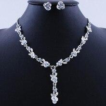 Fashion Wedding Jewelry Sets Alloy Rhinestone Enamel Earring/Necklace/Rose Flower Jewelry Set For Woman