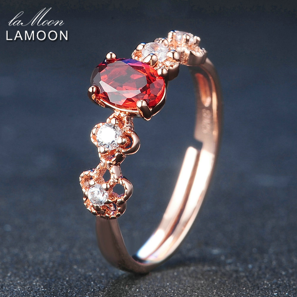 LAMOON 925 Sterling Silver Ring For Women Red Garnet Gemstone Jewelry 18K Rose Gold Plated Fine Jewelry Adjustable Ring LMRI045