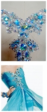 Hand made crystal patches sky blue/clear AB colour sew on Sequins Rhinestones applique 33*23cm for top dress skirt