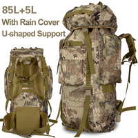 85L Outdoor Camping Backpack Large Capacity Molle Hiking Field Military Tactical Travel Rain Cover Bags Men Metal Frame Support