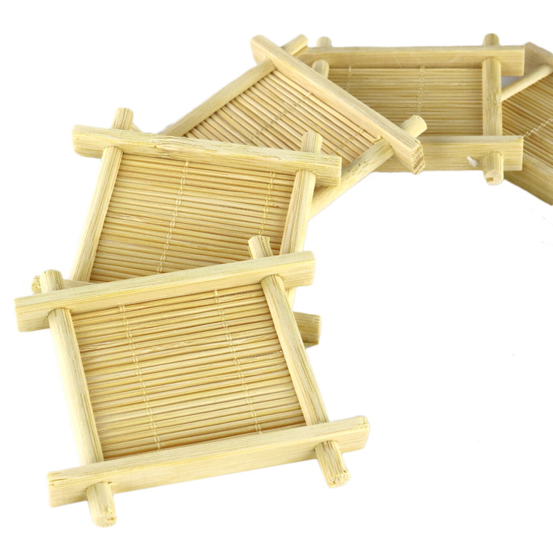 Handmade Bamboo Cup Mat Kung Fu Tea Accessories Table Placemats Coaster Coffee Cups Drinks