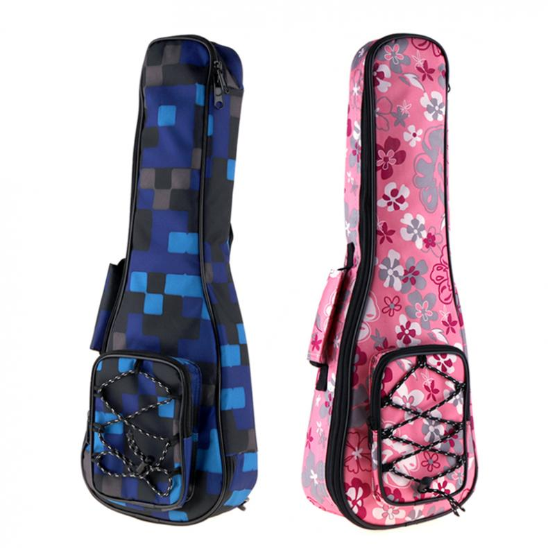 21 Inch Colorful Ukulele Bag 10mm Cotton Soft Case Gig Bag Mini Guitar Ukelele Backpack (2 Colors Optional)