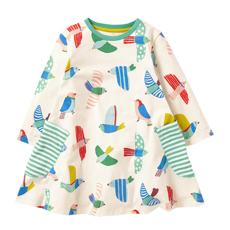 NEWEST Bird Girl Dress Kids Clothes Party Dresses for baby girls airplain long sleeve tunic Animal printing dress free shipping brand girl dress 2017 new winter fashipn printing dresses for girls solid color long sleeve kids clothes girls 4477w