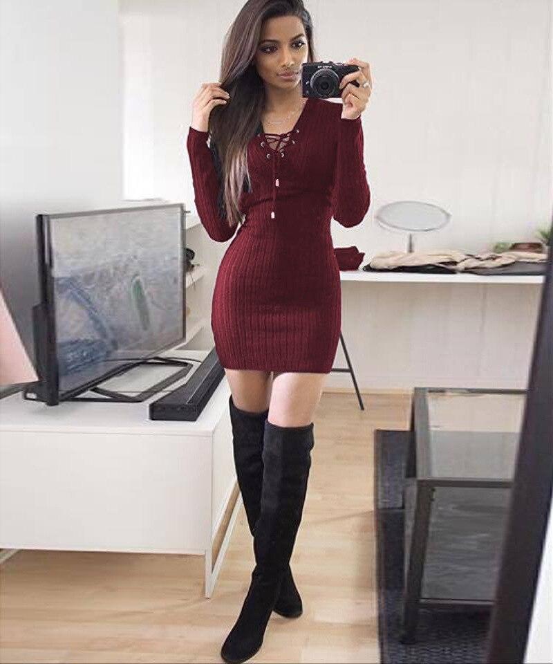 Lace Di Maglia Modo Up Manica Lunga Aderente A Sexy Cortomini 4qS76wn