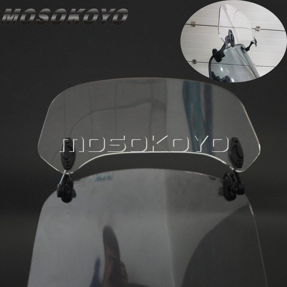 Tela de Vento Motocicleta transparente Subiu Ajustável Pára Saqueador Defletor de Ar para KAWASAKI YAMAHA Honda BMW F800 R1200GS