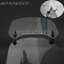 Transparante Motorfiets Gestegen Verstelbare Wind Screen Voorruit Spoiler Air Deflector Voor Honda Bmw F800 R1200GS Kawasaki Yamaha