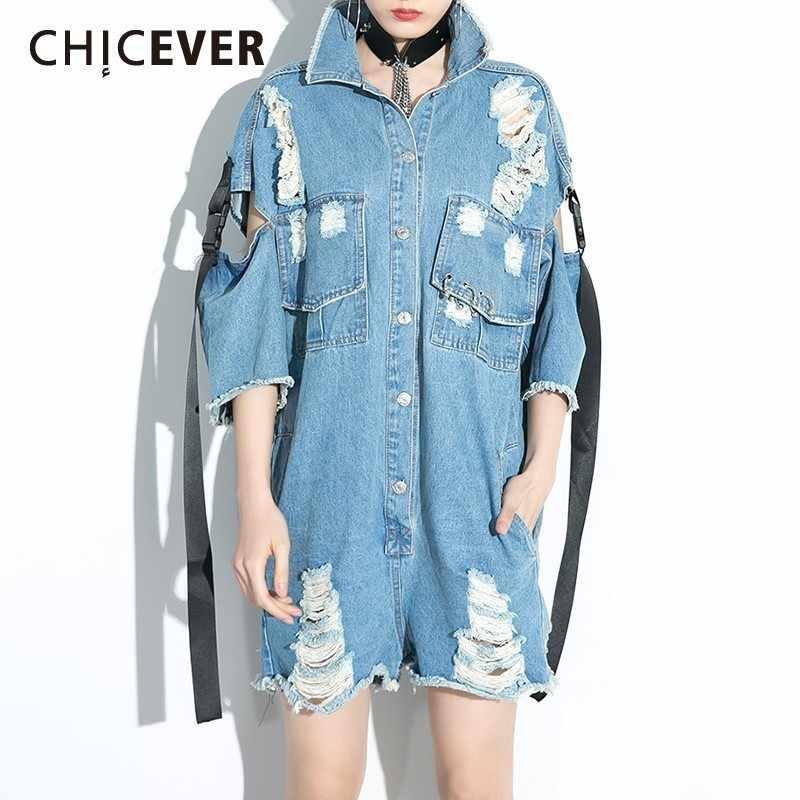 CHICEVER корейский синий джинсовый комбинезон для женщин со стоячим воротником с коротким рукавом держать Свободные Комбинезоны Женская мода Новинка 2019 осень