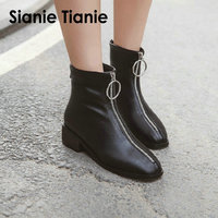 Sianie Tianie 2019 winter woman boots soft PU chunky low heels woman motorcycle botas punk female ankle boots with front zipper