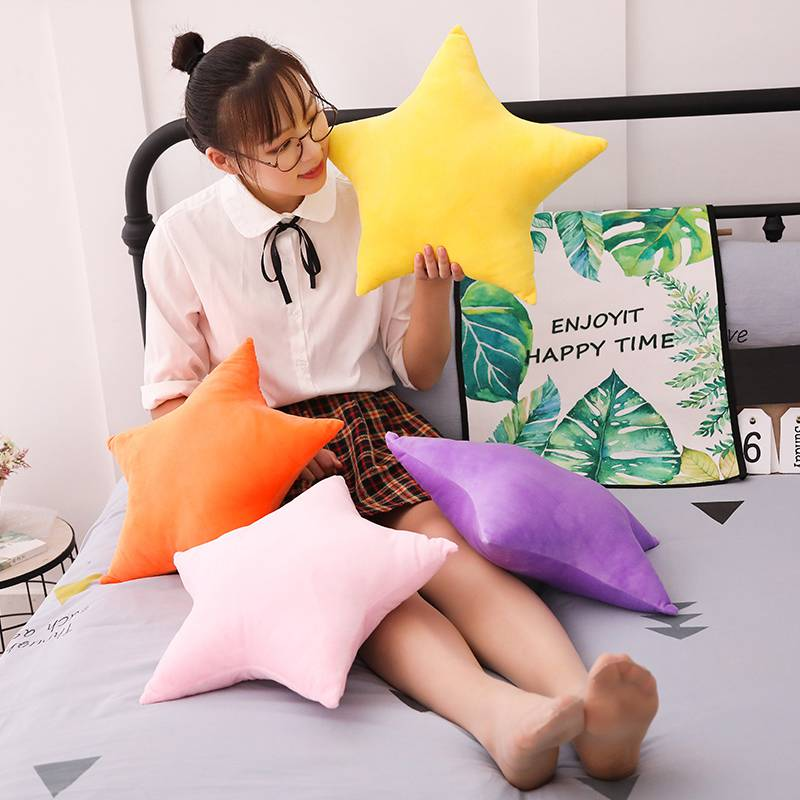 1pc 45x45cm 9 Patterns Cute Star Pillow Colorful Star Toys Plush Padded Star Brinquedos Home Sofa Funny Cushion Baby Smooth Doll