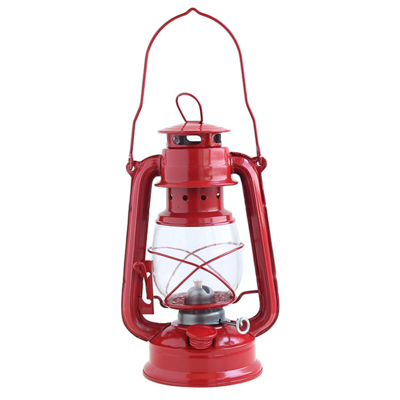 Retro Classic Kerosene Lamp Kerosene Lanterns Wick Portable Lights Adornment -Red