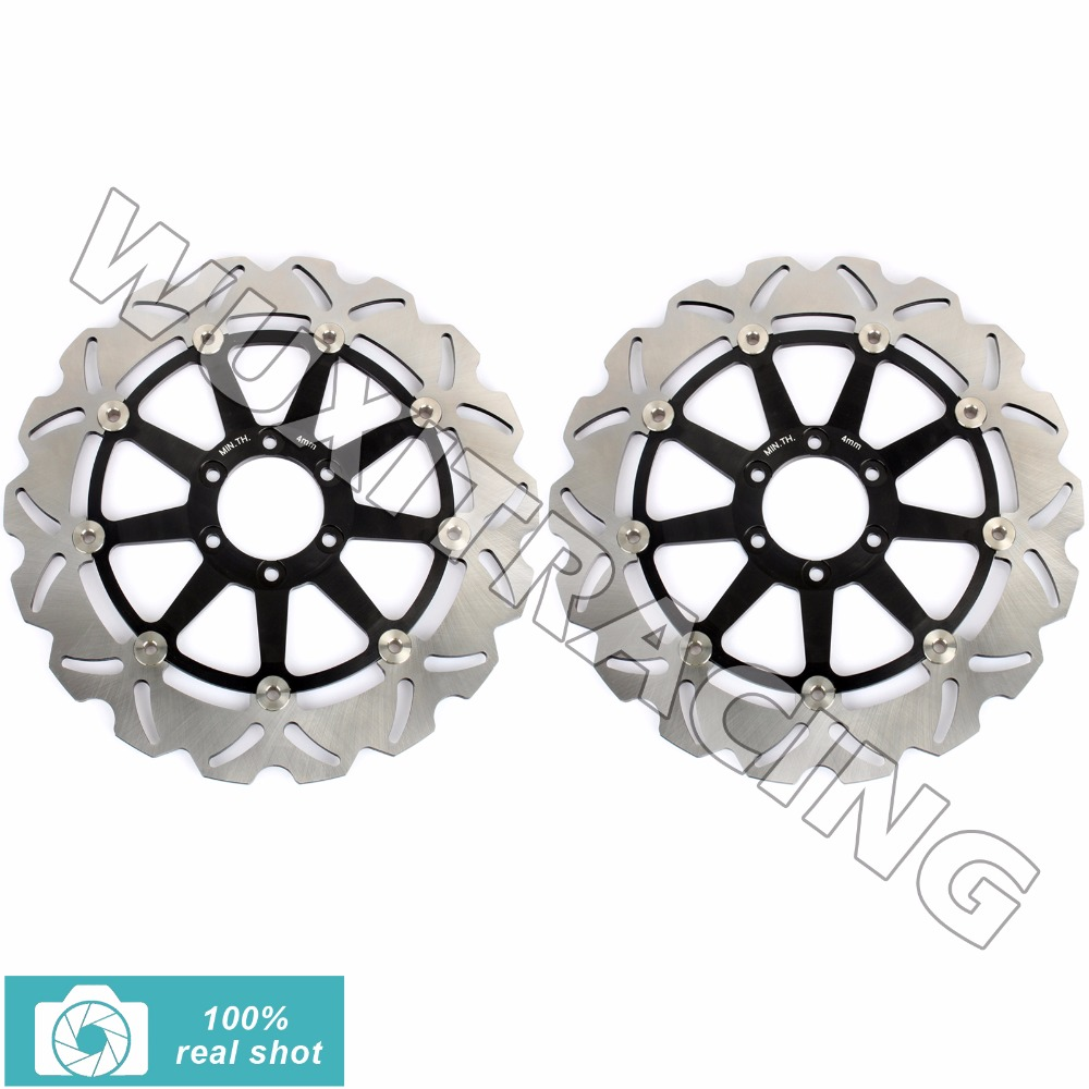 2pcs Bla/Gol Motorcycle New Front Brake Discs Rotors for KTM 990 Super Duke R 2005 2006 2007 2008 2009 2010 2011 2012 2013 06-13 new brand motorcycle accessories gold front brake discs rotor for suzuki gsxr1000 2005 2006 2007 2008