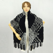 190*36cm Winter Knitted Real Rex Rabbit Fur Scarf with Pocket Wide Women Natural Tassel Shawl Warm Long Scarves