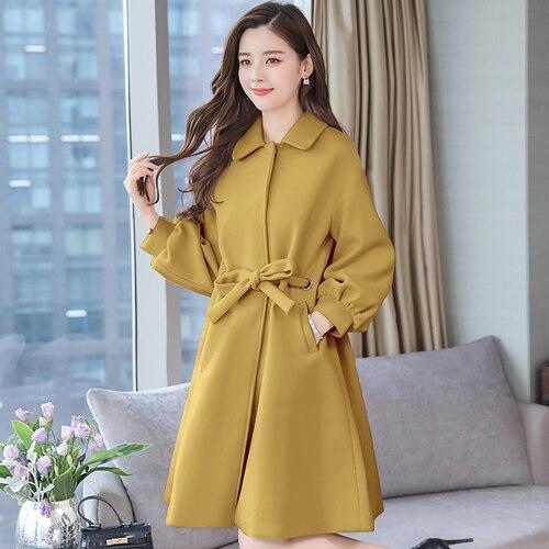 Solide De Pour vent Imperméable Feminino Couleur Taille Vêtements bleu Manteaux rouge Trench jaune Femmes Coupe Laine Femme Grande Lâche Beige Manteau rqrEz