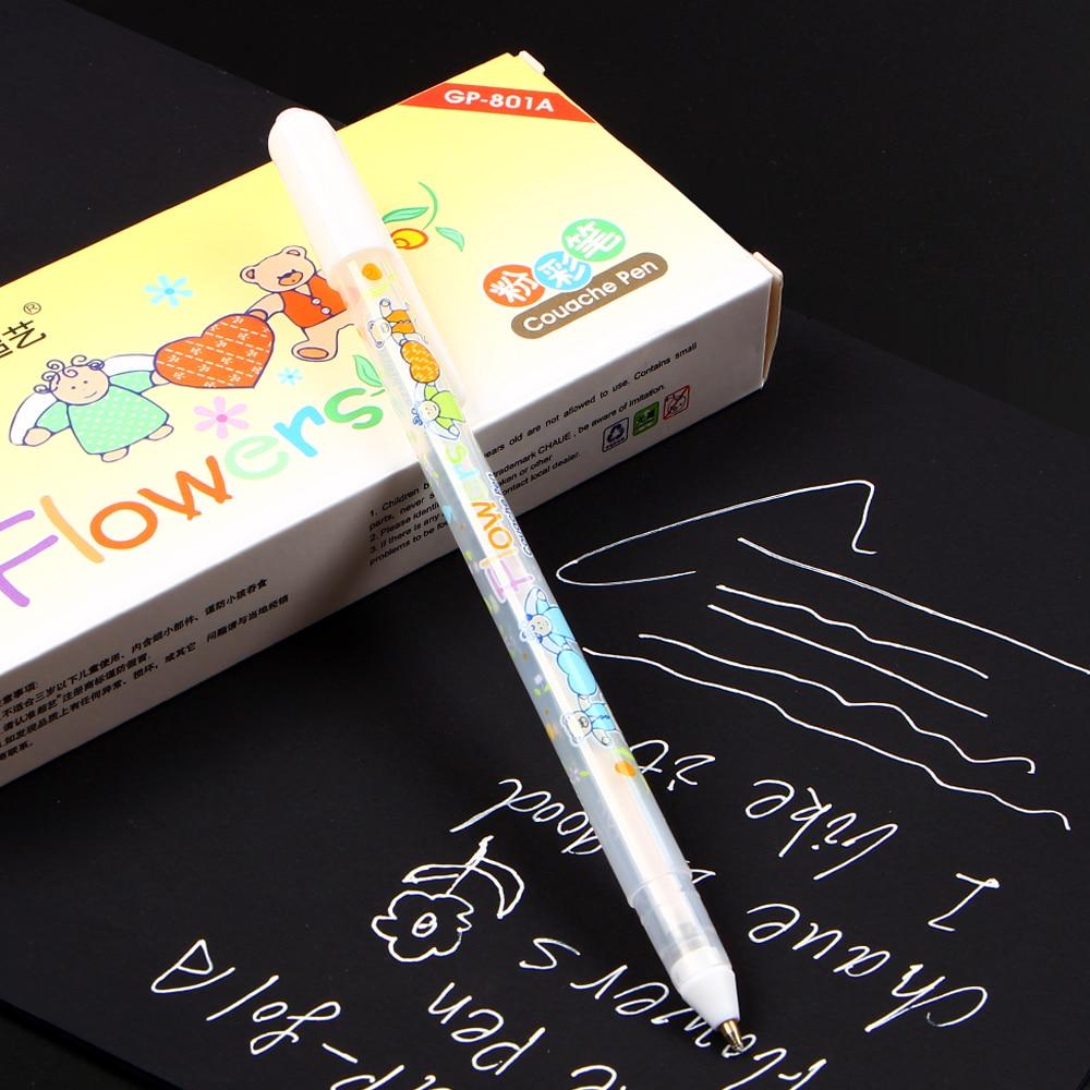 0.8mm witte inkt kleur fotoalbum gel pen briefpapier kantoor leren leuke pen unisex pen cadeau voor kinderen gp801 normaal