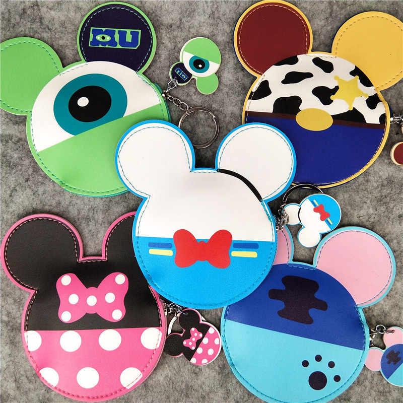Disney Mickey mouse Cartoon Bus Kaart Set vrouwen Munt tas Cartoon Bus kaarthouder Set vrouwen Purse Coin sleutelhanger hanger tas