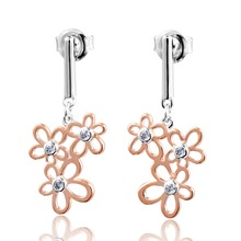 DORMITH free shipping 925 sterling silver flowers earrings AAA cubic zirconia for women fashion drop rose gold plating