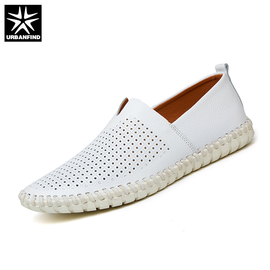 URBANFIND Summer Style Men Leather Loafers Slip-on Shoes Big Size 38-47 Hollow Design Man Breathable Casual Flats desai brand italian style full grain leather crocodile design men loafers comfortable slip on moccasin driving shoes size 38 43