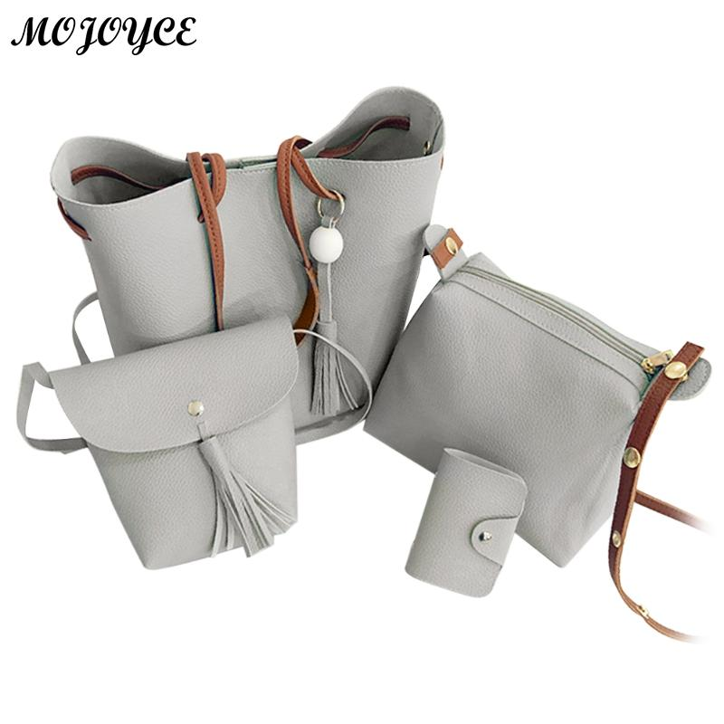 4 teile/satz Frauen Composite Taschen Luxus Marke Frauen Quaste Schulter Tasche Weiche Leder TopHandle Taschen Damen Quaste Tote Handtaschen
