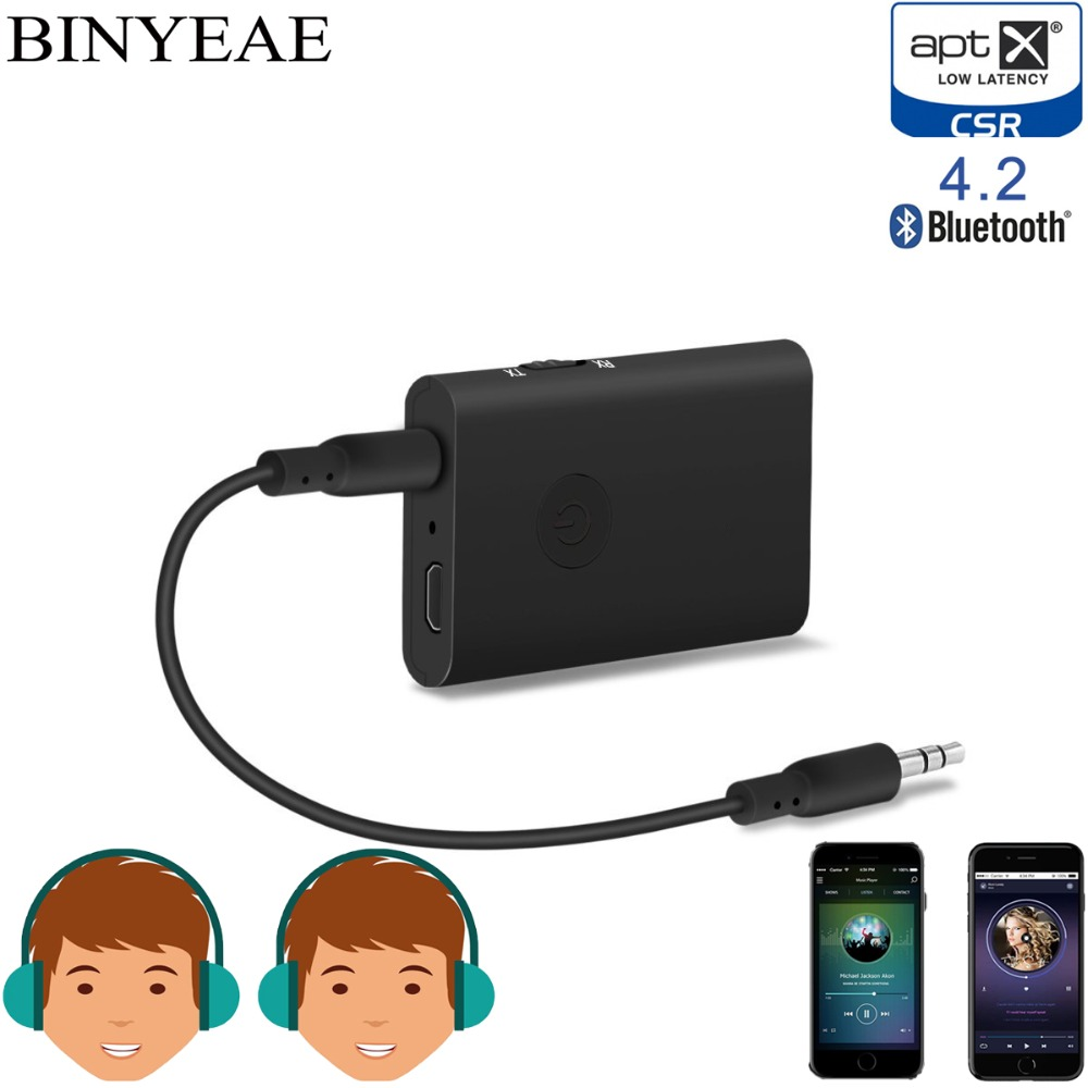 Binyeae Bluetooth 4 2 Aptx Low Latency Aux 3 5mm stereo Audio Transmitter font b Receiver