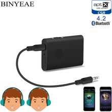 Binyeae Bluetooth 4.2 Aptx Low Latency Aux 3.5mm stereo Audio Transmitter Receiver 2 in 1 Wireless Music home car TV Adapter