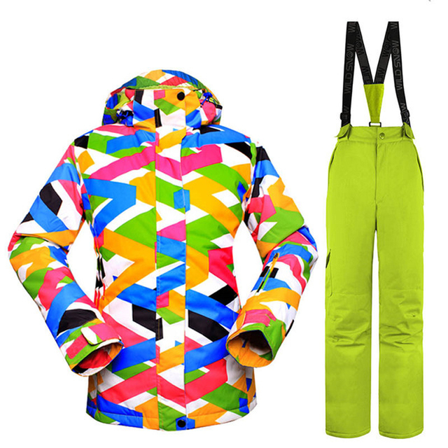 Women s Ski Suit Snowboarding Jacket and Pant Winter Thick Warm Windproof  Waterproof Clothing Set 4210e1429