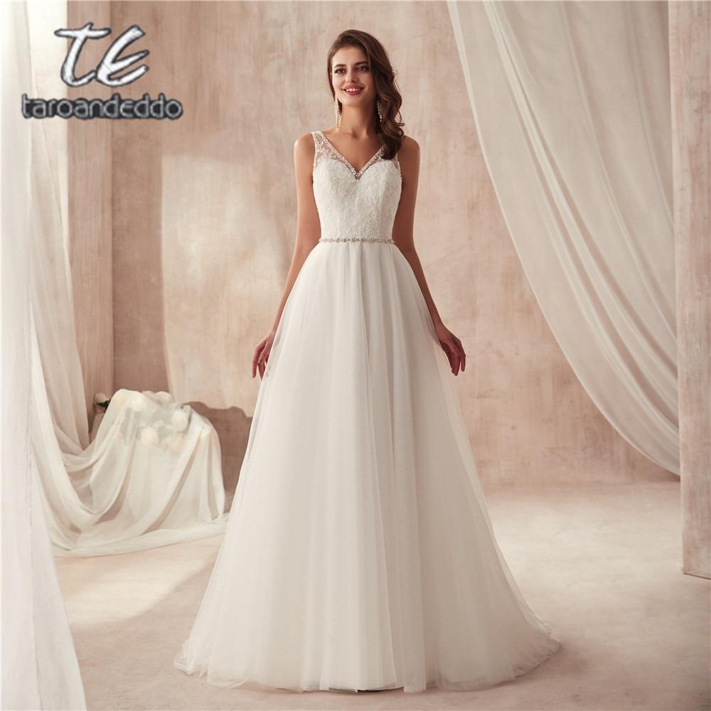 Crystals V-neck A-line Elegant Tulle Wedding Dress With Removable Beading Belt Long Bridal Dress Vestido De Casamento