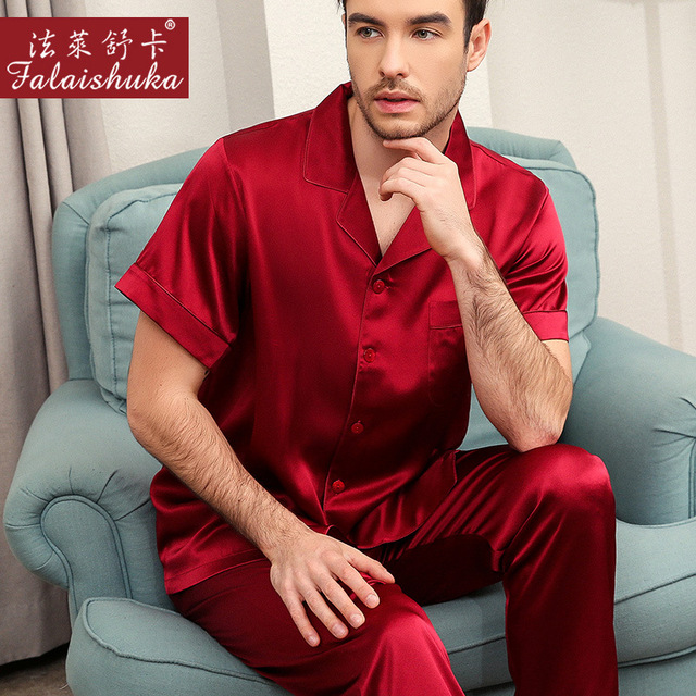 2019 New Elegance 100% mulberry silk pajamas sets mens noble natural silk short sleeve+trousers homewear for male men pyjama