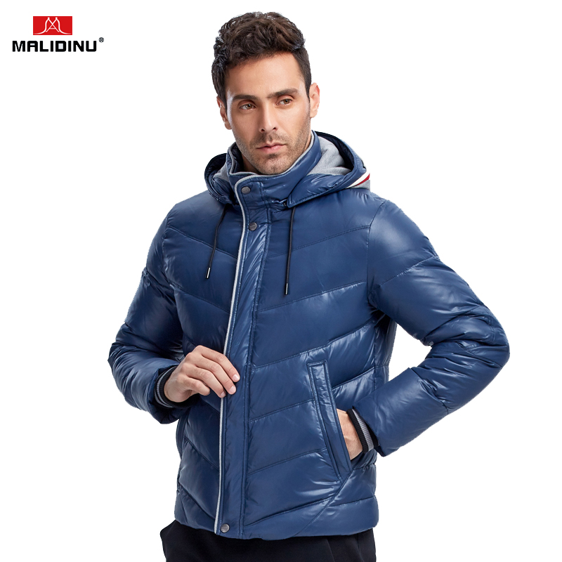 MALIDINU 2018 New Men Down Jacket Winter Down Coat Parka 70%White Duck Down Hooded Thicken Winter Jacket Brand Free Shipping