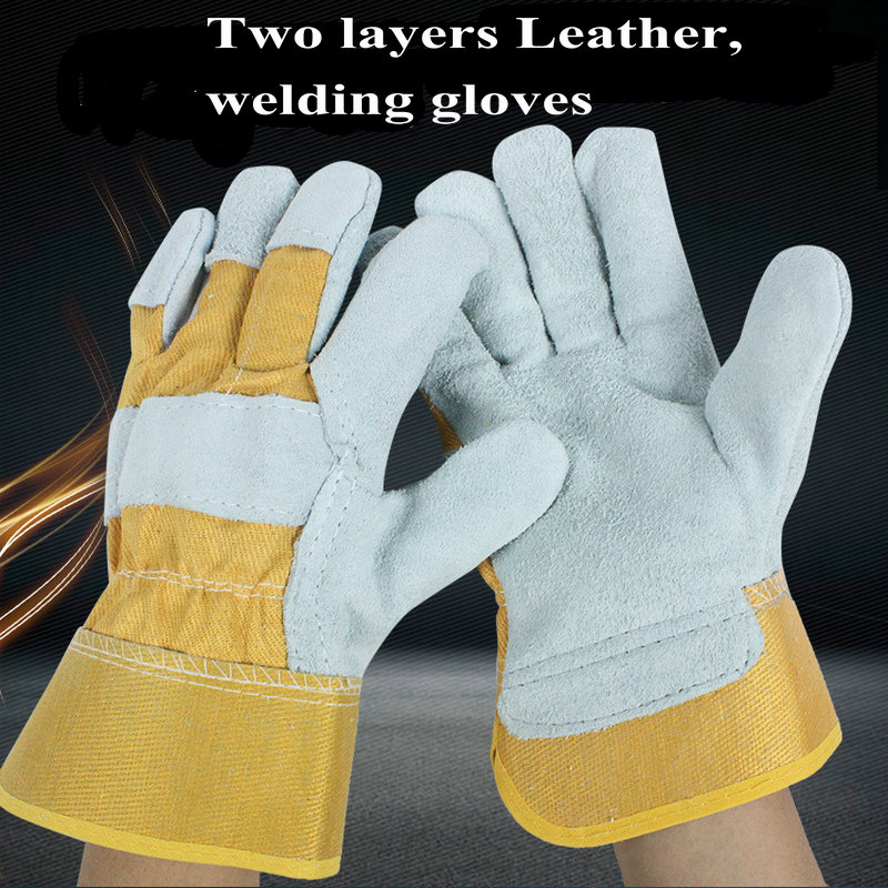 Double-layer Leather Welding Gloves Thick Wear-resistant Welder High Temperature Anti-scalding Protection Gloves Men Women