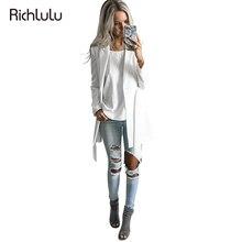 RichLuLu Сплошной Белый Blazer Женщины Пояс Одежда Офис Дамы С Длинным Рукавом Элегантный Пиджак Женский Глубокий V-образным Вырезом Пиджак Кардиганы