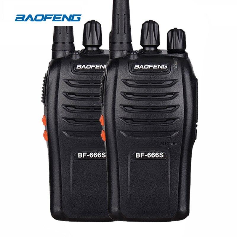 2 piezas $TERM impacto Baofeng Walkie Talkie BF-666S UHF 400-470 MHz 5 W 16CH Radio de dos vías de 666 s Simple radio portátil estación Eye-catching botón