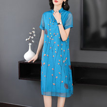 Modern Chinese vintage elegant dress women plus size print floral dresses woman party night blue 2019 summer midi robe clothing цена и фото