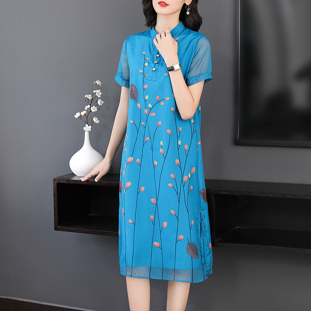 9870a7edf2a8e Modern Chinese vintage elegant dress women plus size print floral dresses  woman party night blue 2019 summer midi robe clothing